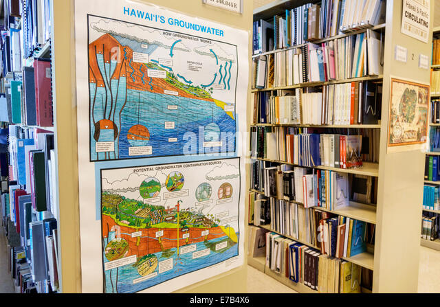 Hawaii Hawaiian Honolulu Hawaii State Library book shelves groundwater poster illustration information explanation - Stock Image