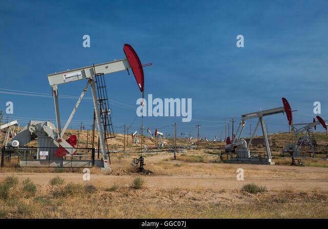 Bakersfield, California - Oil wells in the huge Kern River Oil Field. - Stock Image