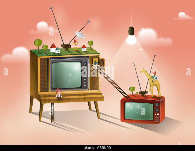 People On Television Set - Stock Image