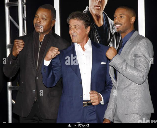 Los Angeles, California, USA. 19th November, 2015. Michael B. Jordan, Sylvester Stallone and Carl Weathers at the - Stock Image