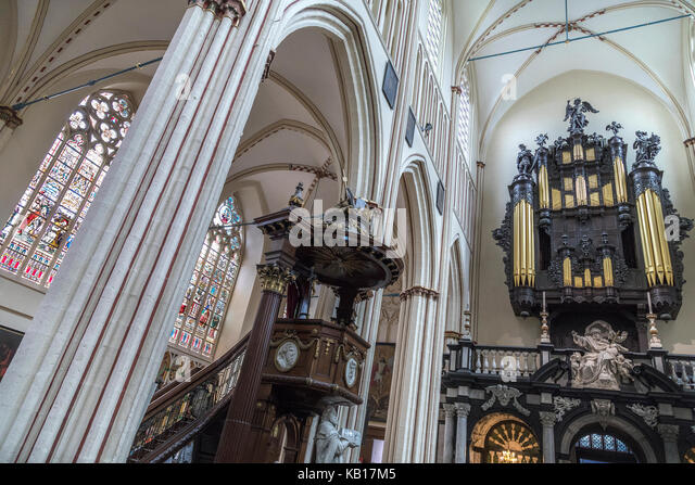 Interior of St. Salvators Cathedral in the historic city of Bruges in Belgium. The organ of the cathedral was originally - Stock Image