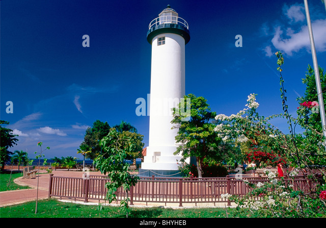 Low Angle View of the Rincon Lighthouse, Puerto Rico - Stock Image
