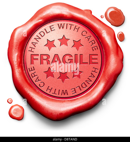 fragile breakable handle with care careful handling delicate product red warning sign icon or stamp - Stock Image