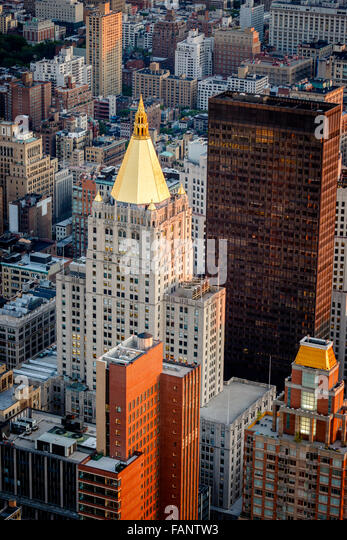 Aerial view of Chelsea buildings and rooftops on Madison Avenue near Madison Square Park, Manhattan, New York City - Stock Image