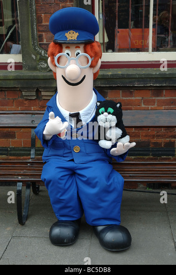 Postman Pat at a special event on the Battlefield Line Heritage Railway, Shackerstone Station, Leicestershire, England, - Stock Image