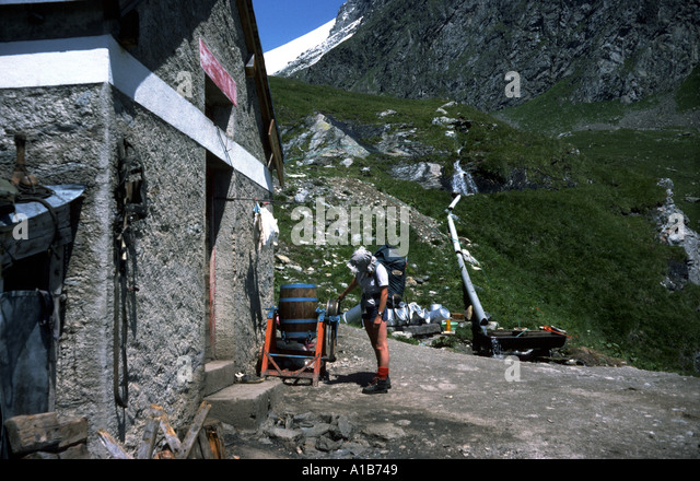 Cheese making equipment at a chalet in the French Alps, France - Stock Image