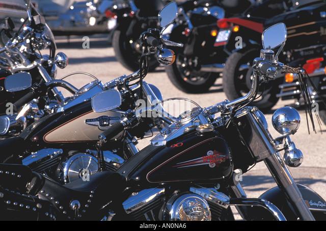 Daytona Beach Florida fl bike week line of motorcycles harley davidsons - Stock Image