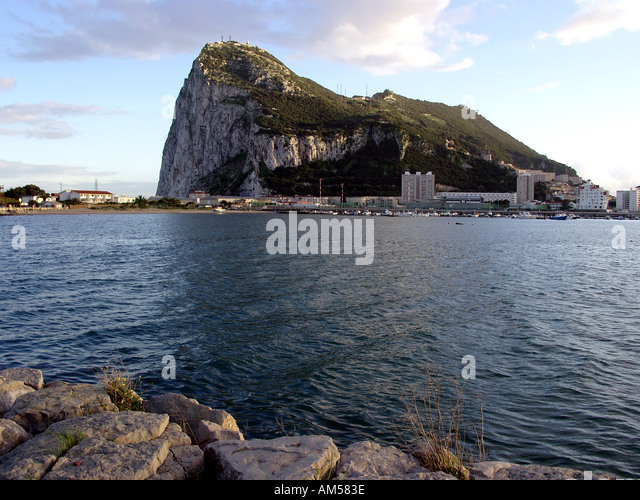 Solid as the Rock of Gibraltar, The Rock seen from La Linea, - Stock Image