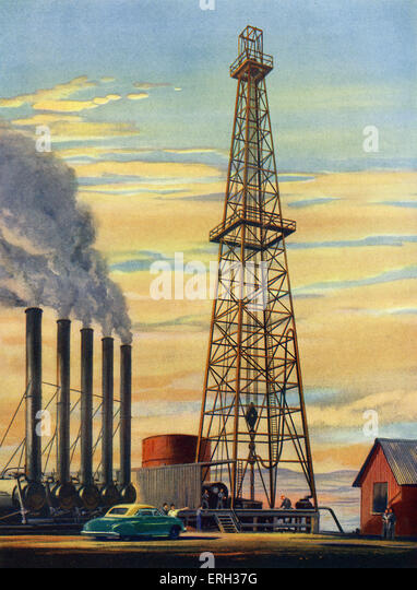 Oil well, early 1950s. Men at work around a derrick tower. Illustration by unknown artist, from The Wonder Book - Stock Image