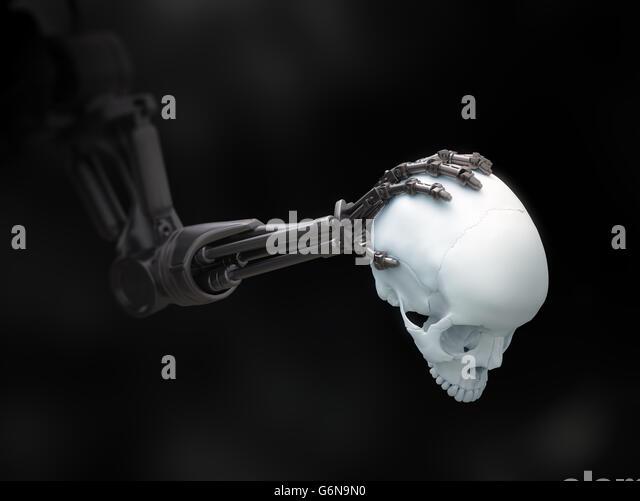 Robot arm holding a human skull - 3D illustration - Stock-Bilder
