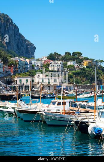 fishing boats in marina grande on the island of capri, gulf bay of naples, campania, italy - Stock Image