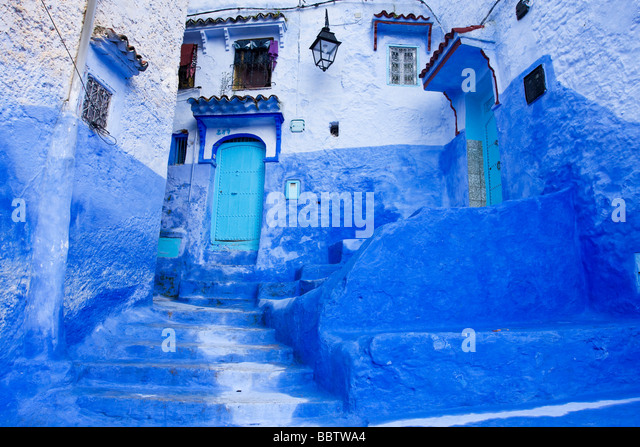 Blue Painted Steps in Chefchaouen Morocco North Africa - Stock Image