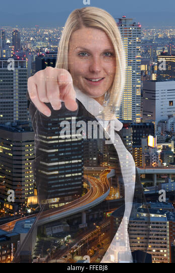 Businesswoman business woman choosing searching finding deciding double exposure find search - Stock Image