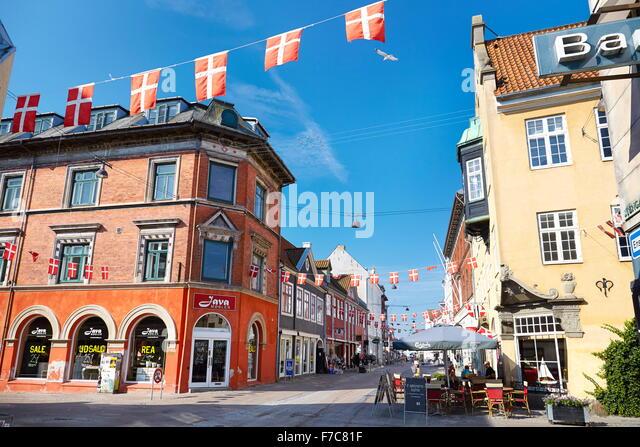 Old town in Helsingor city, Denmark - Stock Image