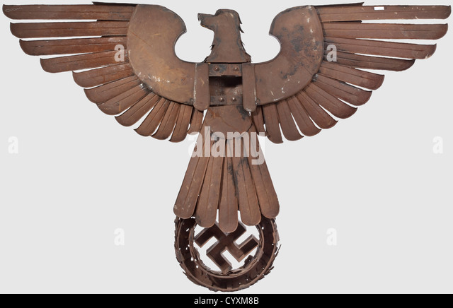 A large National Eagle, in detailed issue in half relief. Elaborately hand-made from small, chased steel plates - Stock Image