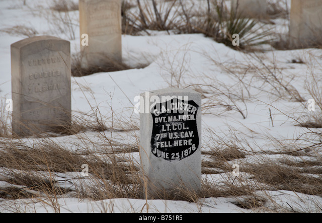 George Armstrong Custer headstone in snow, Last Stand Hill, Little Bighorn Battlefield National Monument, Crow Agency, - Stock Image