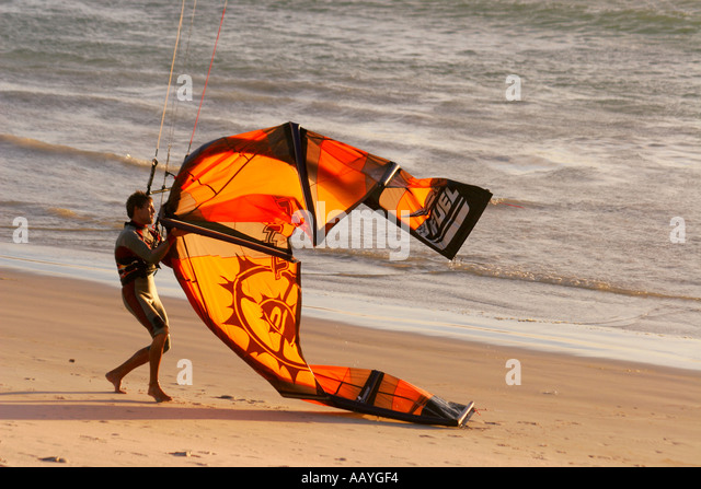 south africa cape town bloubergstrand kitesurfer - Stock Image