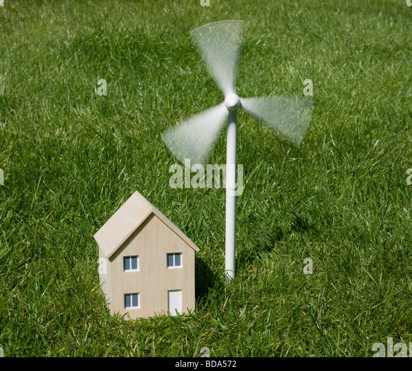 Model house and wind turbine - Stock Image