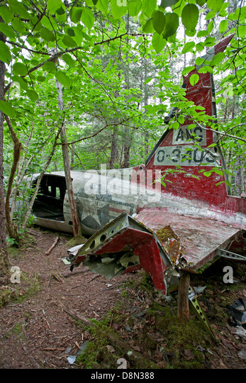 1957 DC-3 plane crash. Gustavus. Glacier Bay. Alaska. USA - Stock Image