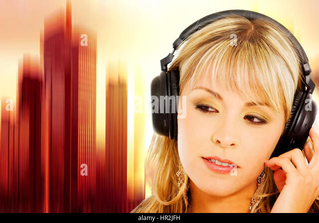 blond girl listening to music on her noise cancelling headphones with a vibrant equalizer like background - Stock-Bilder