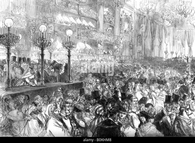 Fancy-dress ball at the new Grand Opera House, Paris, for the benefit of the poor, 1875. Artist: Unknown - Stock Image