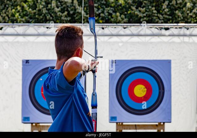 Paris, France. 24th Jun, 2017. Man practising archery during the Paris Olympic Games 2024 showcase. Credit: Guillaume - Stock Image