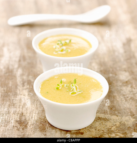 Peach and thyme Gaspacho - Stock Image