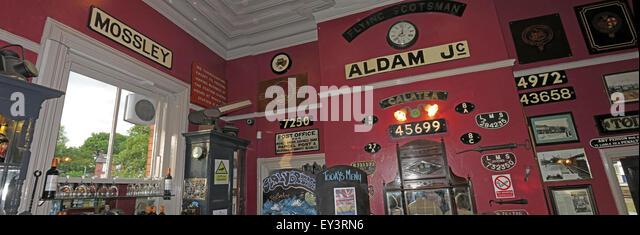 Interior of Stalybridge Station Buffet Bar - Showing old station signs Mossley & Aldam Jc - Stock Image