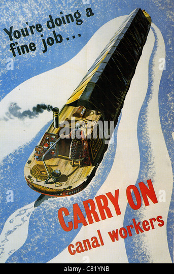 YOU'RE DOING A FINE JOB..CARRY ON CANAL WORKERS British morale boosting poster from WW2 - Stock-Bilder