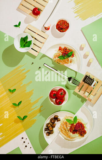 Suprematic meal: pasta - Stock Image
