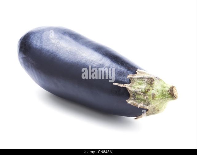 Single fresh eggplant isolated on white background - Stock Image