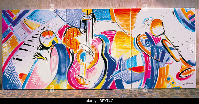 Portugal, Lisbon: Painting in the Rua Augusta - Stock Image