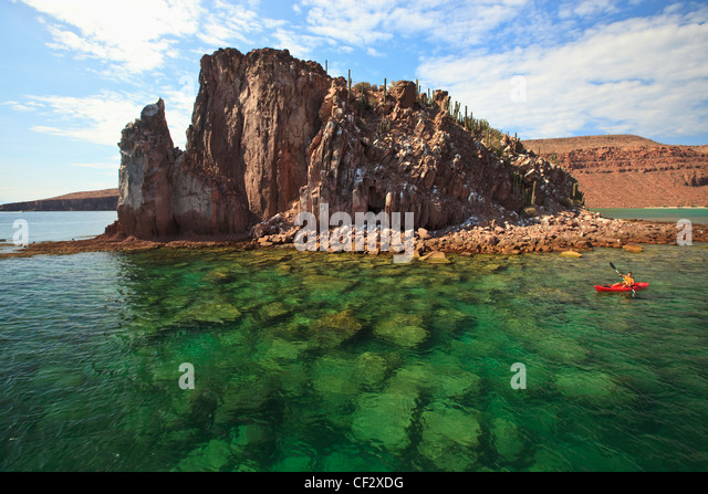 A Tourist In A Boat Off The Coast Of Espiritu Santo Island; La Paz Baja California Mexico - Stock Image