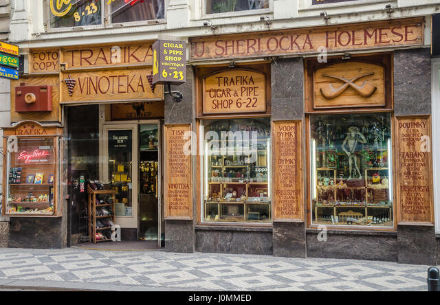 A Sherlock Holmes pipe and tobacco shop in Prague - Stock Image