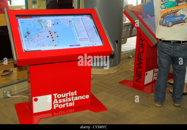 Rhode Island Newport Discover Newport Visitors Center tourist assistance portal touchscreen touch screen monitor - Stock Image