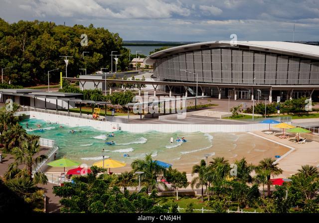 Wave pool at foreshore. Darwin Australia. - Stock Image