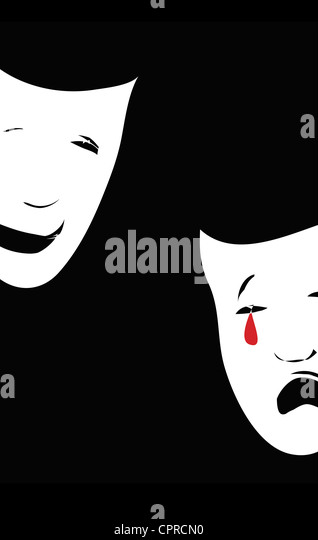 Two masks of drama where one is happy and one sad, crying blood. - Stock Image