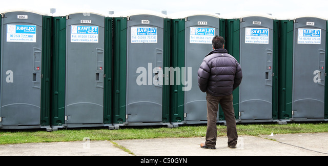 Portable Toilet Exhibition : Waiting for toilets stock photos