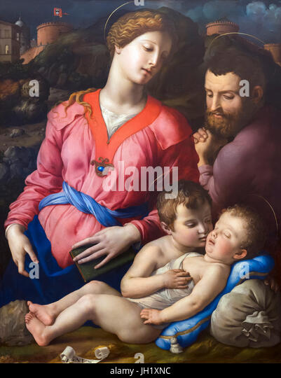 Return from Egypt, Panciatichi Holy Family, by Agnolo Bronzino, circa 1540, Uffizi Gallery, Florence, Tuscany, Italy, - Stock Image