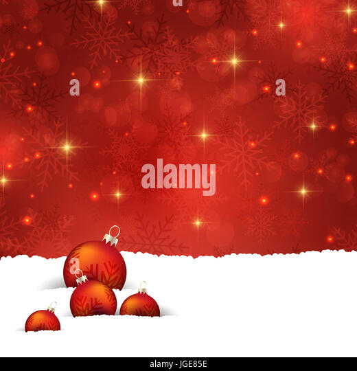 Christmas background with baubles nestled in snow - Stock Image