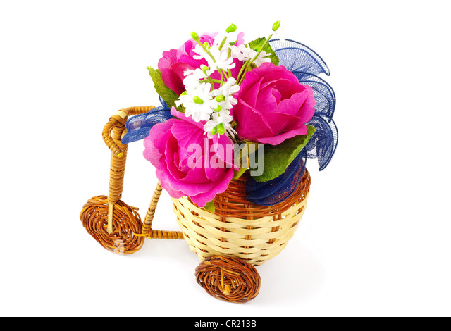 Decorative bicycle vase with flowers - Stock Image