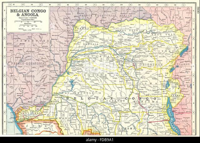 BELGIAN CONGO NORTH: Democratic Republic of Congo. Railways, 1920 vintage map - Stock-Bilder