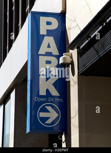Parking garage sign, New York City, USA - Stock Image