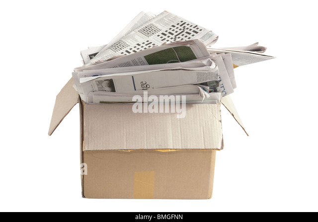 Box of Old Newspapers - Stock Image