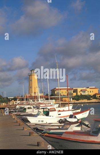 Bonaire Dutch style boats in marina - Stock Image