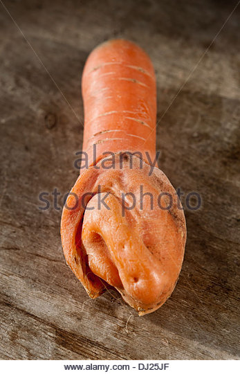 deformed carrot root vegetable twisted unusual distorted plant mis-shaped - Stock Image
