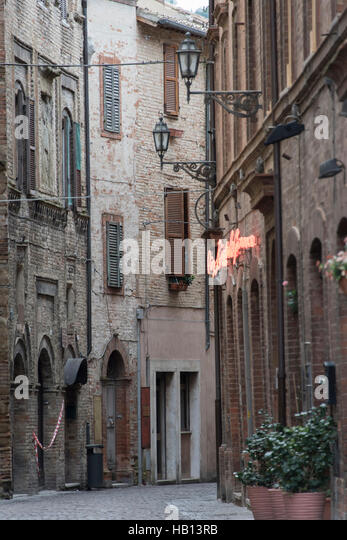 Back street in the ancient town of Tolentino - Stock Image