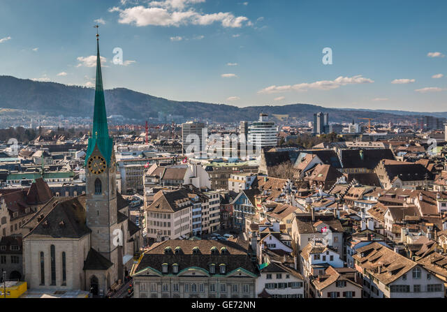 Panoramic view of Zurich city - Stock Image