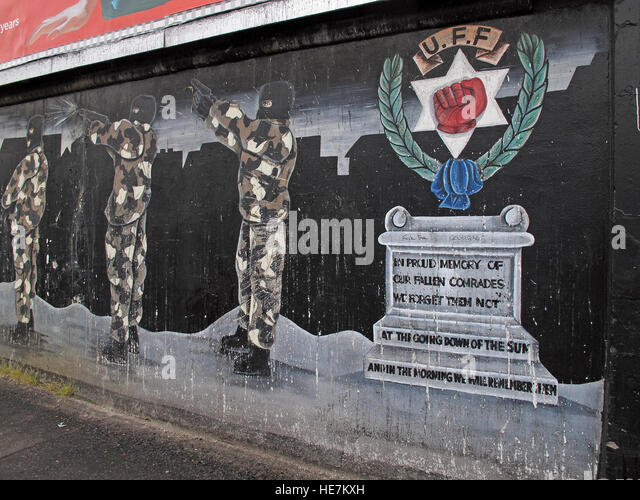 UFF Unionist mural in memory, off Shankill Road West Belfast,Northern Ireland,UK - Stock Image