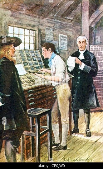 Benjamin Franklin is shown working in the printing shop of man named Keimer in Philadelphia in the 1720s. - Stock Image